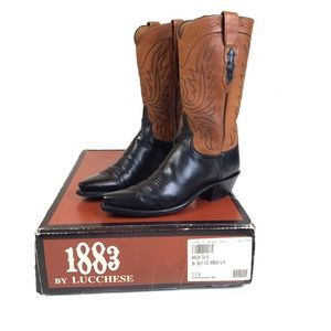 Lucchese 1883 N4534 Buffalo Skin Cowgirl Boots 7.5